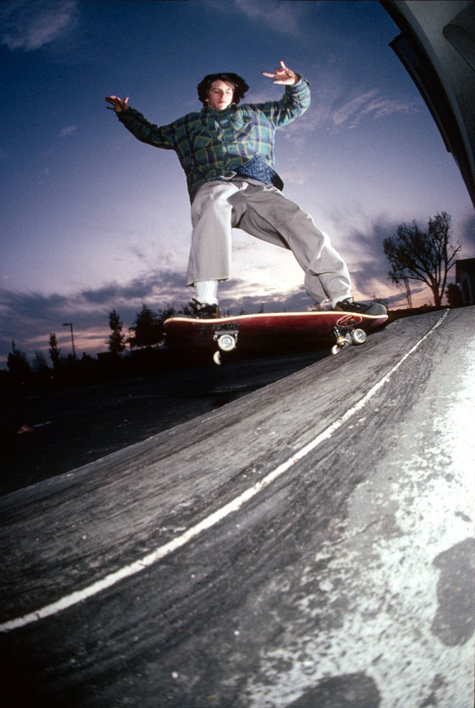 Wade Speyer, Fakie nose grind, Concord 1991 by Tobin Yelland