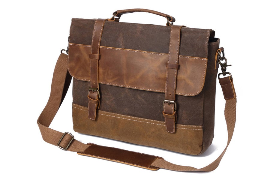 Image of Waxed Canvas Leather Messenger Bag, Men's Shoulder Bag FX8806