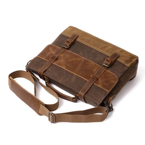 Image of Waxed Canvas Leather Messenger Bag, Men's Shoulder Bag FX8806