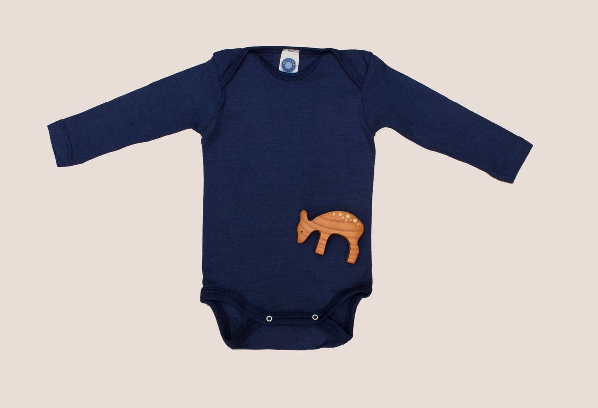 Image of Cosilana Wool silk baby body navy