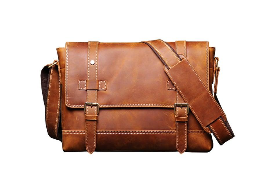 Image of Handmade Vegetable Leather Men's Messenger Bag, Shoulder Bag LJ1005