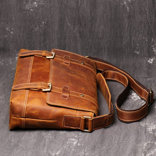 Image of Handmade Vegetable Leather Men's Messenger Bag, Shoulder Bag LJ1005