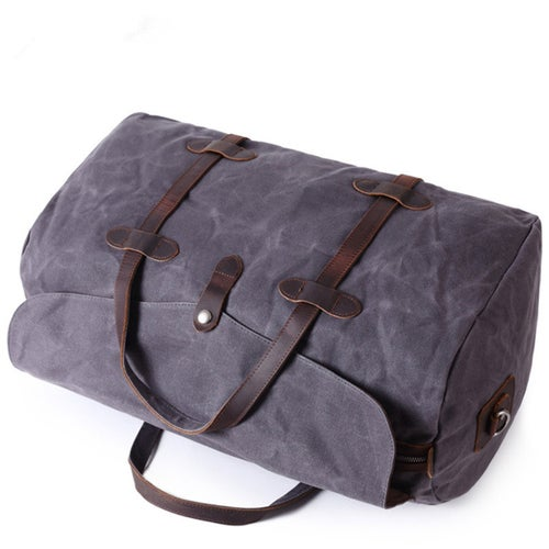 Image of Waxed Canvas Duffle Bag Holdall Luggage Weekender Bag  Travel Bag AF12