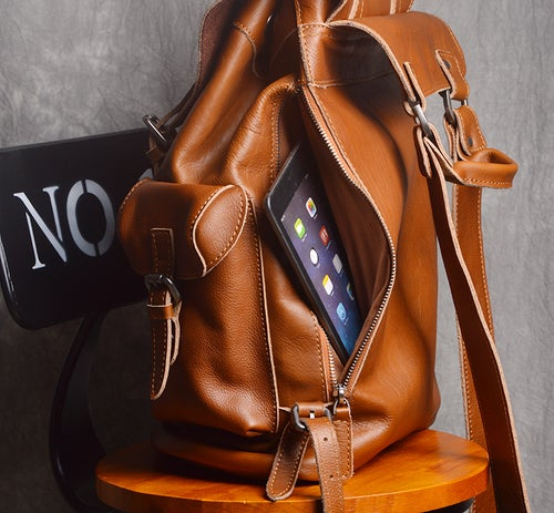 Image of Large Leather Backpack Handmade Vintage Men Travel Backpack  NP03