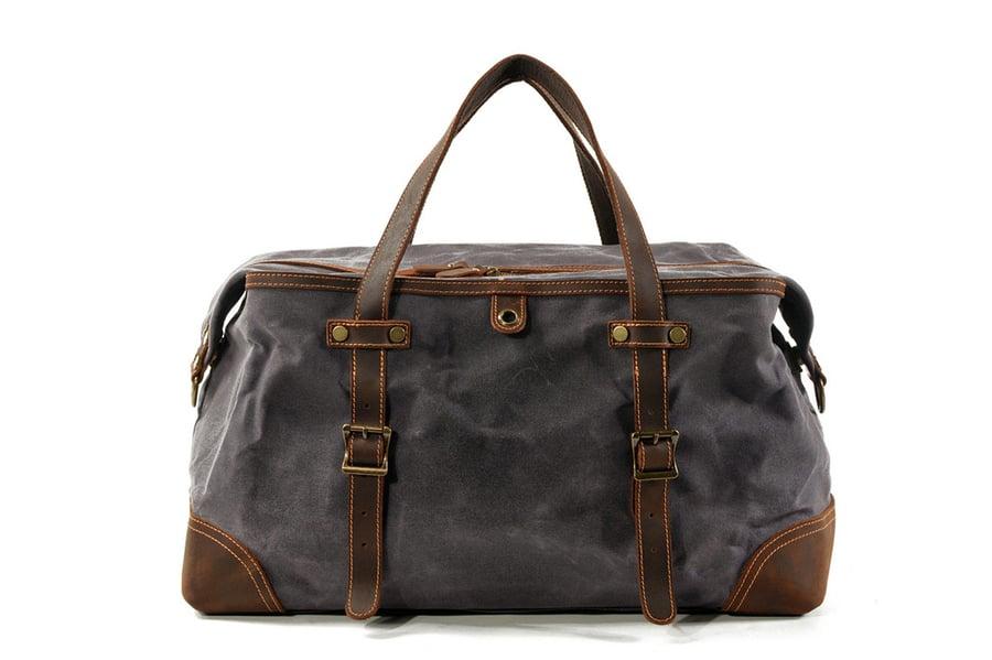 Image of Waxed Canvas Duffel Bag Weekender Holdall Luggage Travel Bag MC9503