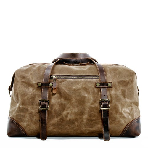 Image of Waxed Canvas Duffel Bag Weekender Holdall Luggage Travel Bag MC9503