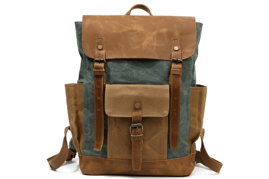 Image of Waxed Canvas Backpack Rucksack Travel Backpack YC02