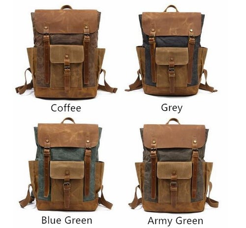 Image of Waxed Canvas Backpack Rucksack Travel Backpack FX8838