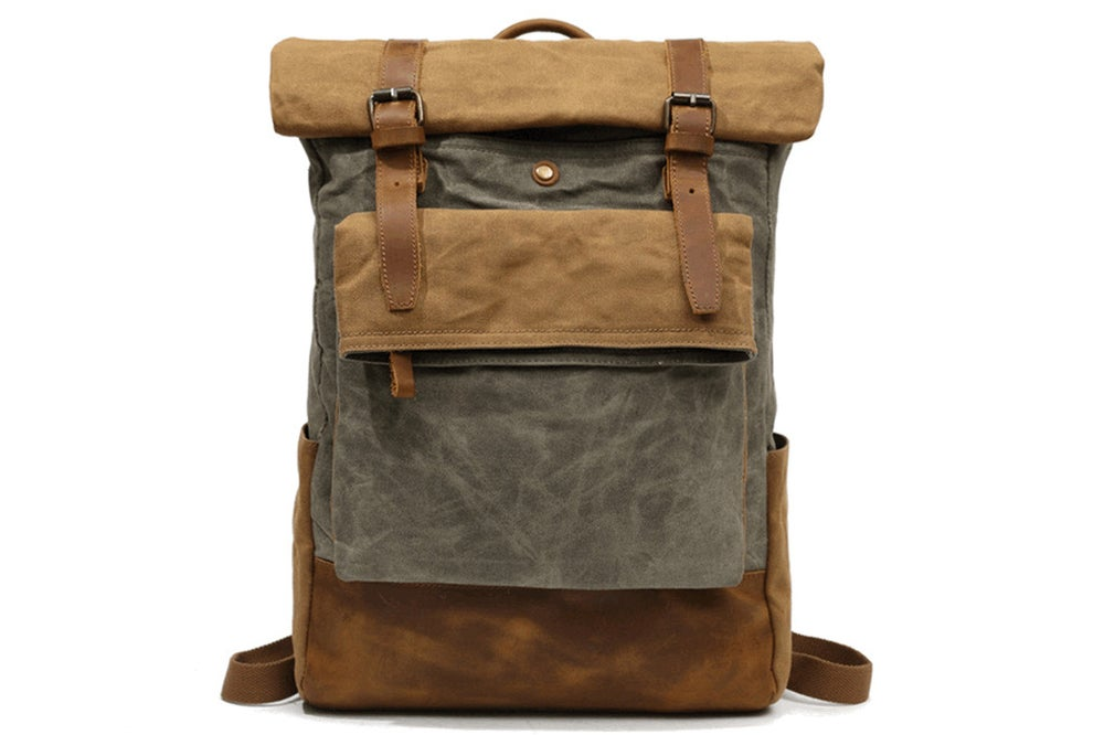 Image of Waxed Canvas Backpack Rollup Rucksack Travel Hiking Backpack FX8835