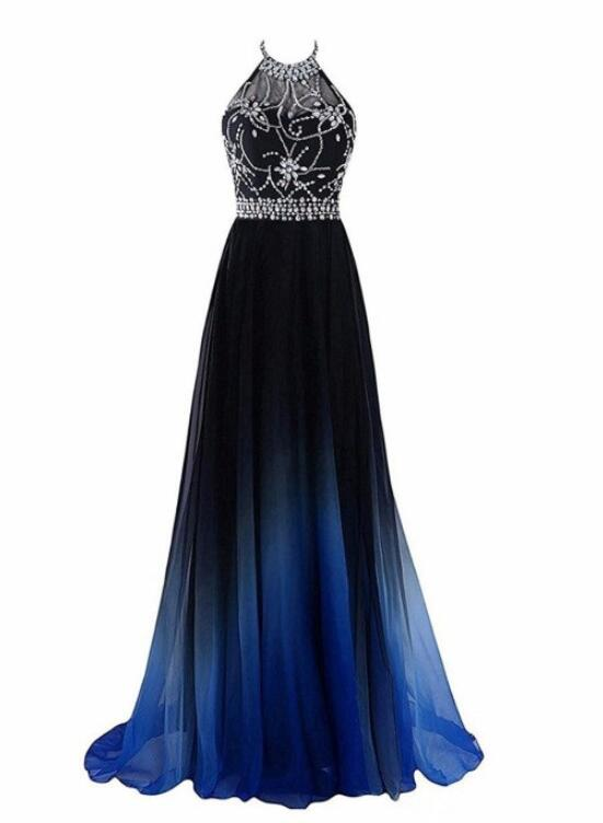 Black and Blue Gradient Long Party Dress, Beaded Halter Formal Dress