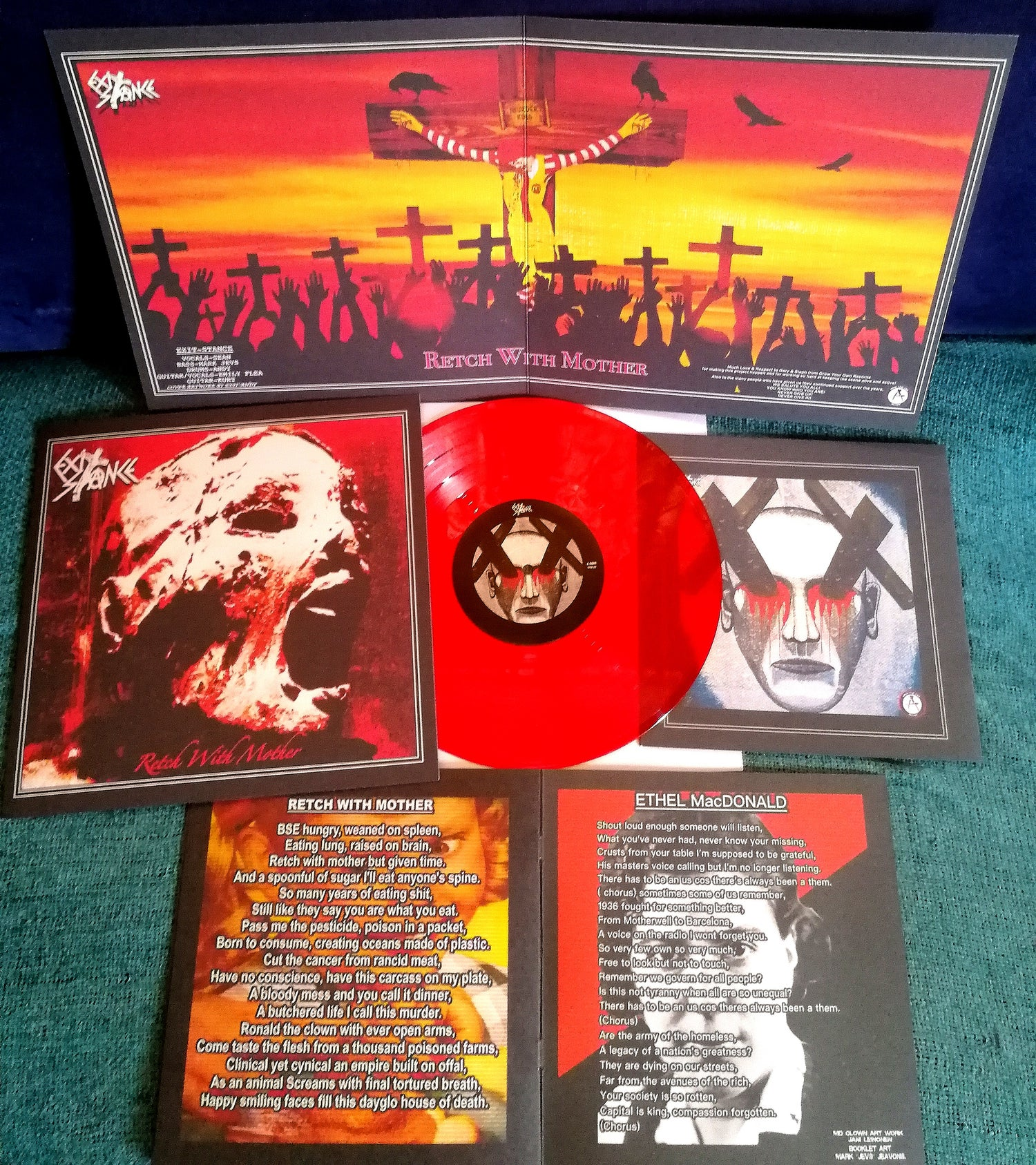 "Image of Exit-stance. new release "" Retch with mother"" Ltd edition 10"" red vinyl"