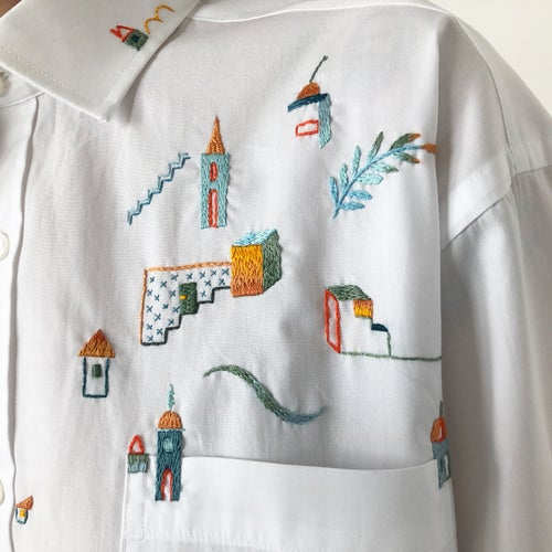 Image of In a search for the feeling of home - hand embroidered 100% cotton shirt, size Small, unisex design