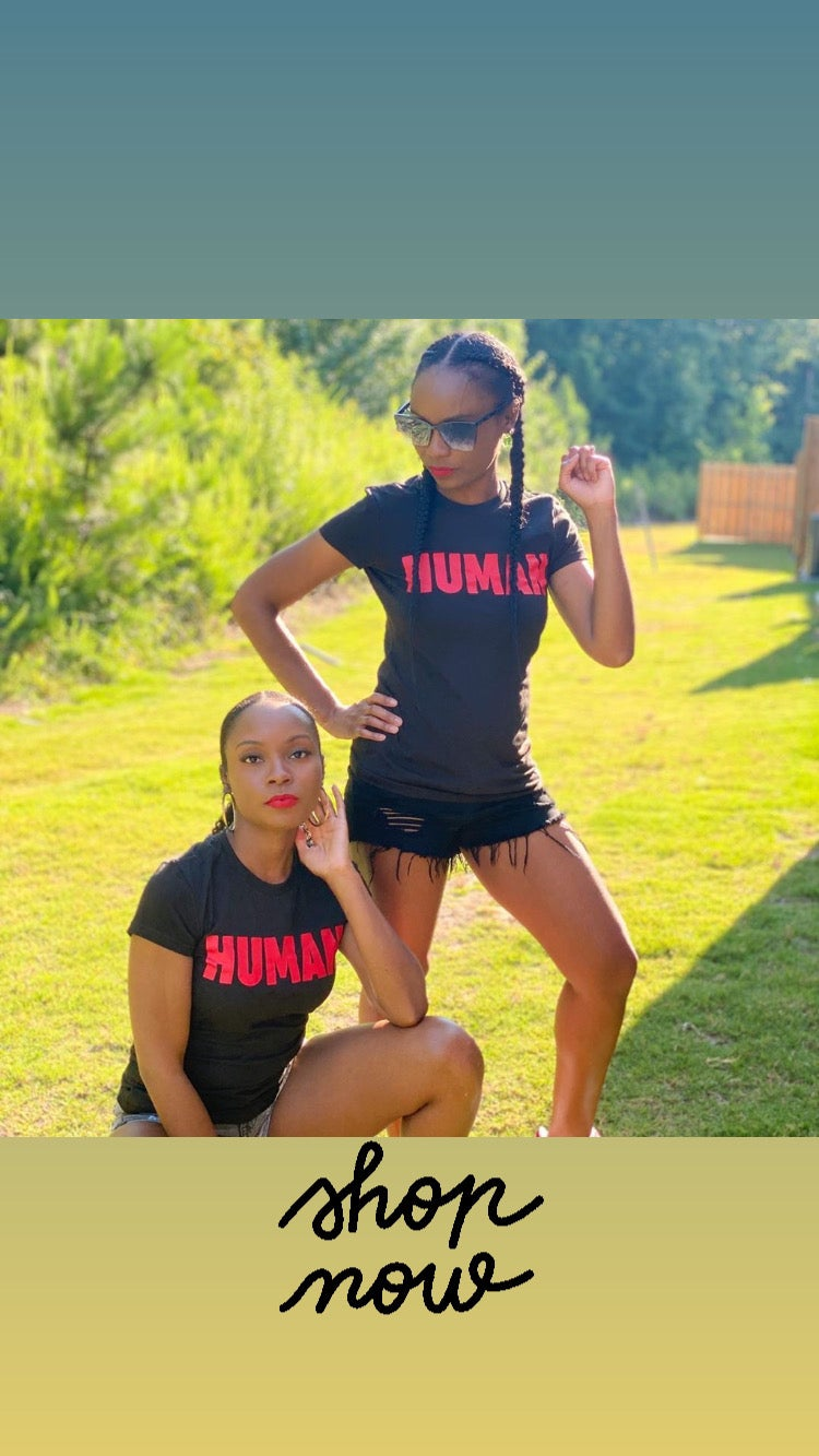Image of Human T | Black T shirt Red Text
