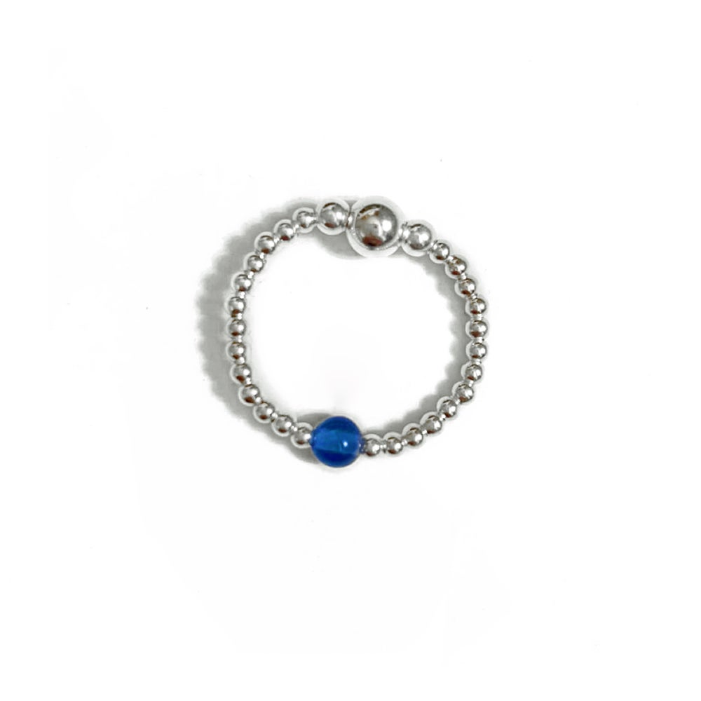 Image of Sterling Silver & Blue Onyx Gem Ring