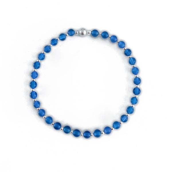 Image of Sterling Silver & Blue Onyx Bead Bracelet