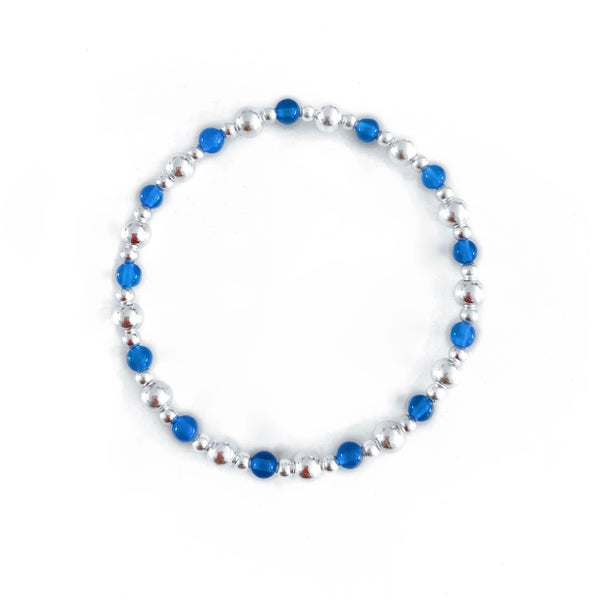 Image of Sterling Silver & Blue Onyx Stacking Bracelet