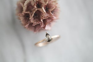 Image of 18ct rose gold, pear shape 'salt and pepper' diamond ring IOW154