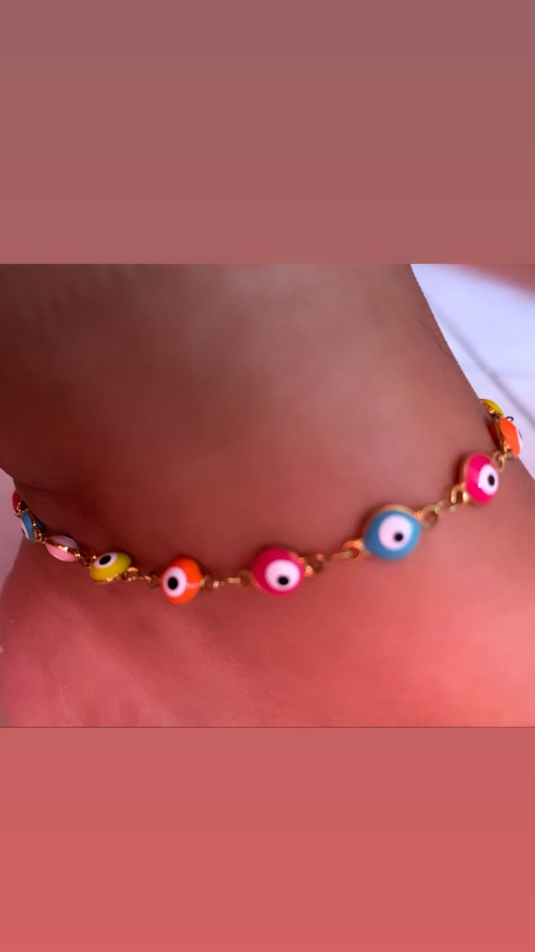 Image of Neon Evil Eye anklet