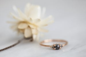 Image of 18ct rose gold, grey rose-cut diamond trilogy ring IOW155