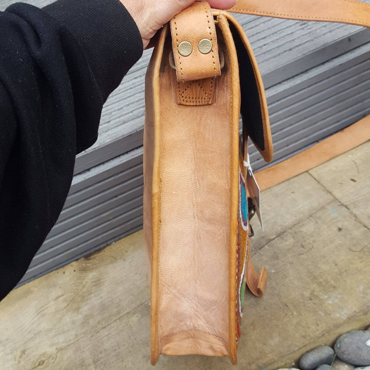 Image of Leather messenger bag with buckle