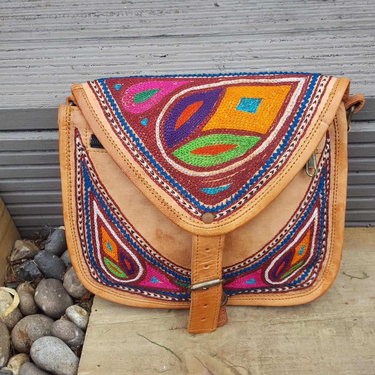 Image of Leather embroidered saddle bag UNTREATED