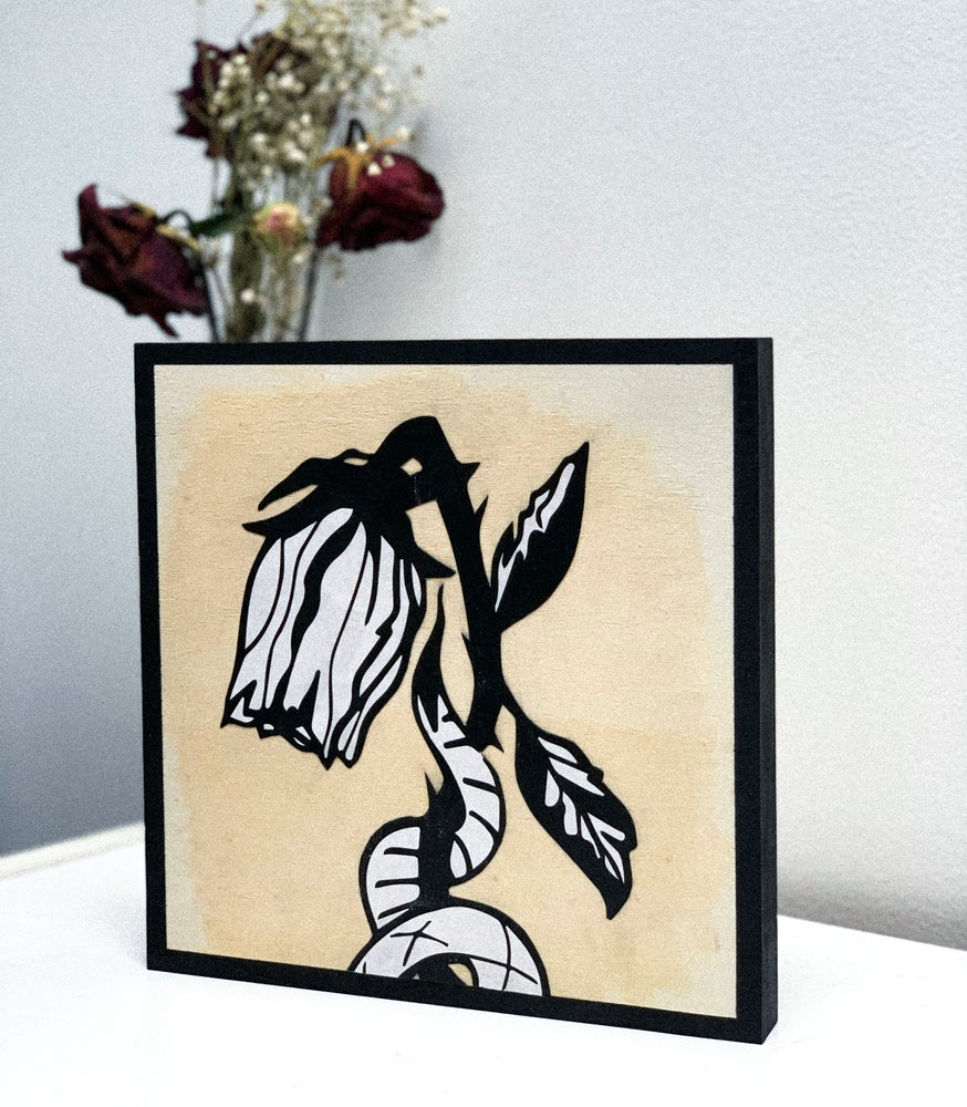 Image of Wilted Rose Wood Canvas