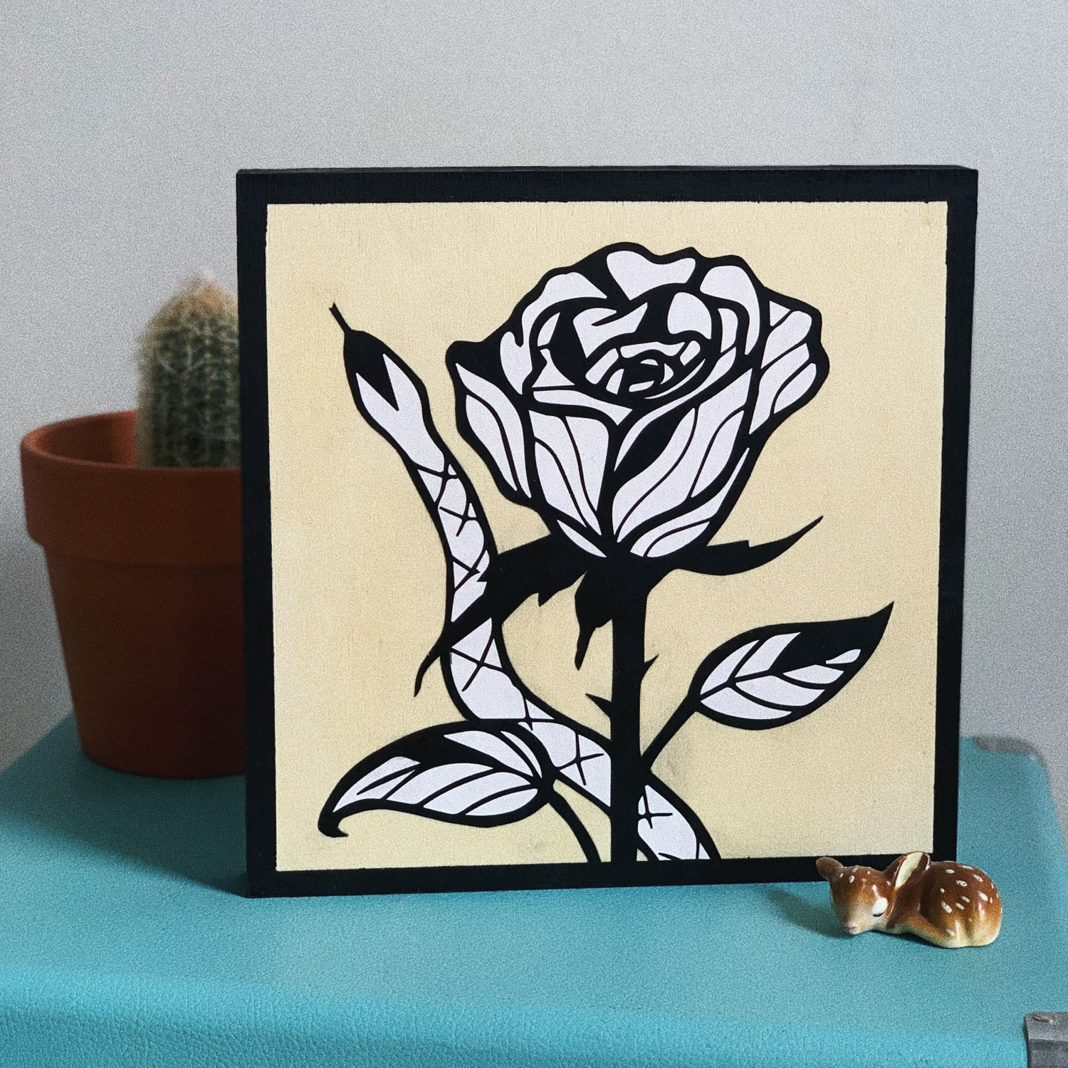Image of Snake on A Rose Wood Canvas