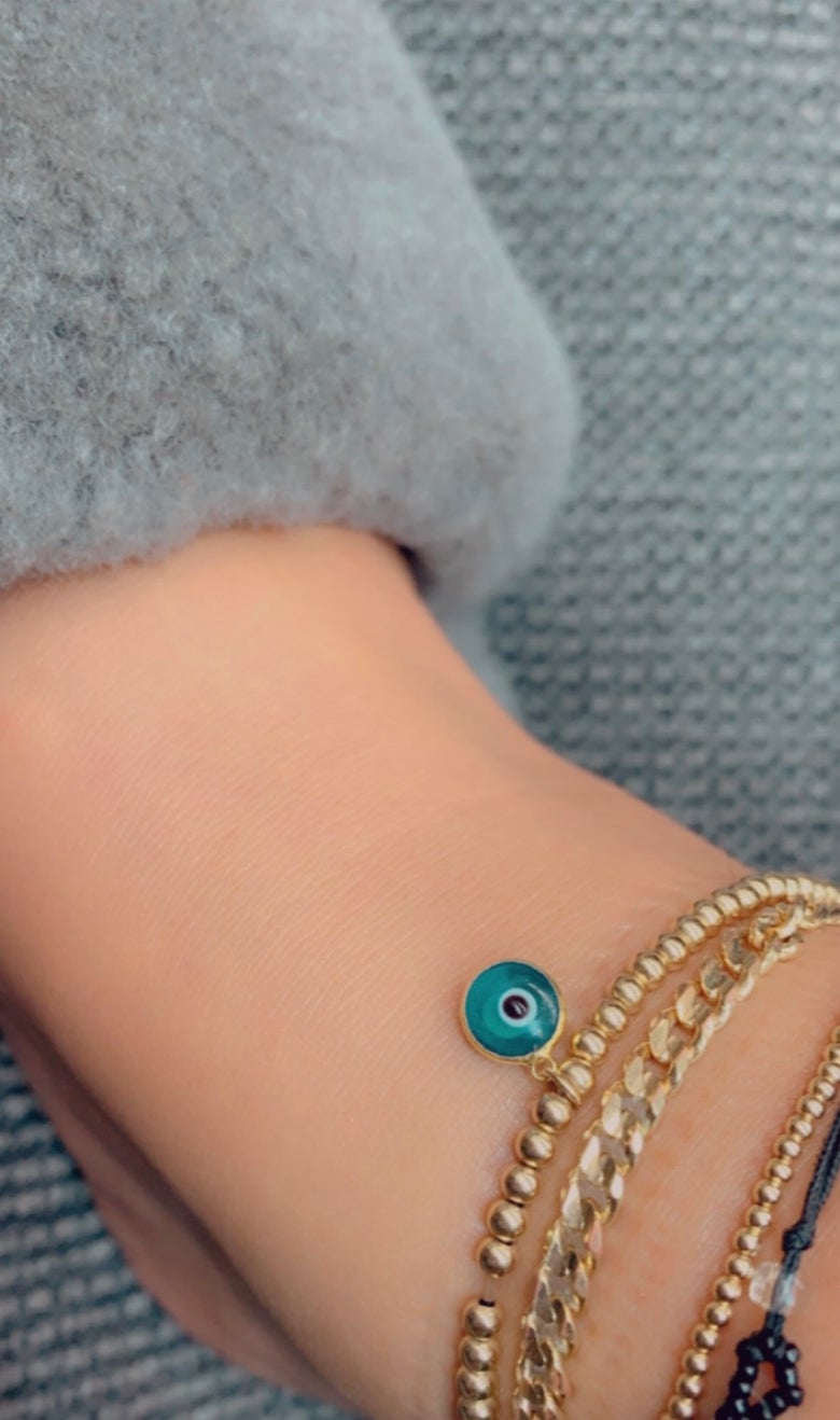 Image of Gold Filled Beaded Anklet dangling evil eye (comes in other colors)