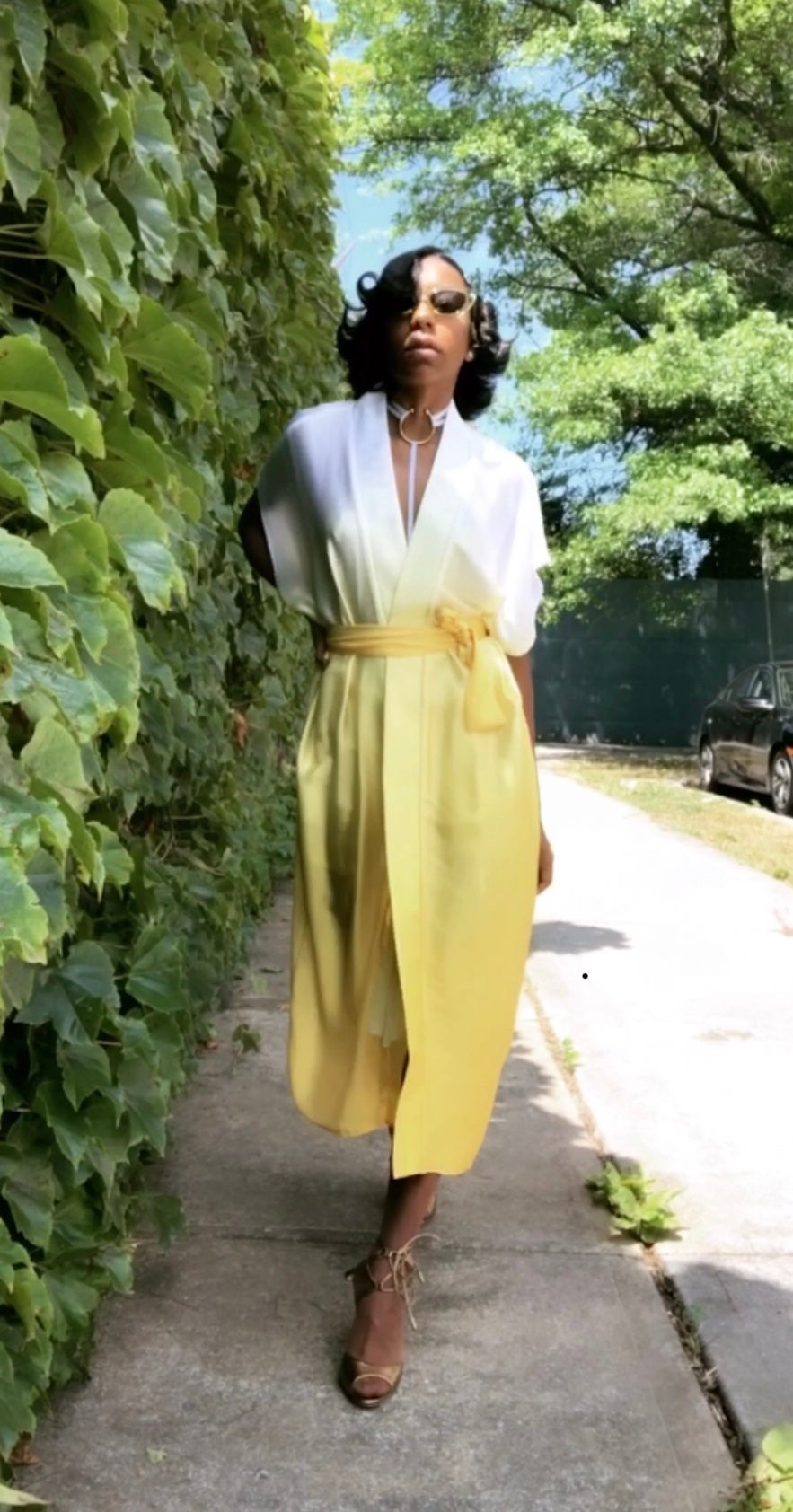Image of Ombre Yellow Silk Robe