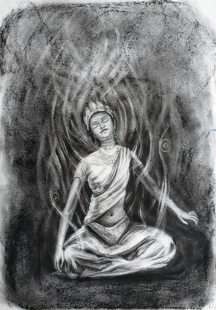 Image of 'Sati (Parvati)' charcoal drawing