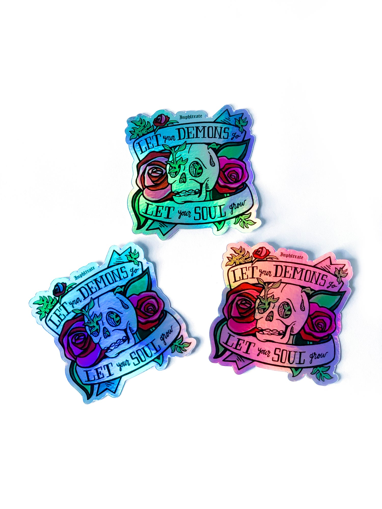 Image of Let Your Demons Go ~ Let Your Soul Grow Holographic Sticker Pack