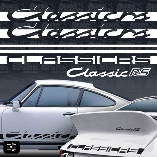 Image of CLASSIC-RS TYPE COMPLETE DECAL SET - YOUR CUSTOM TEXT