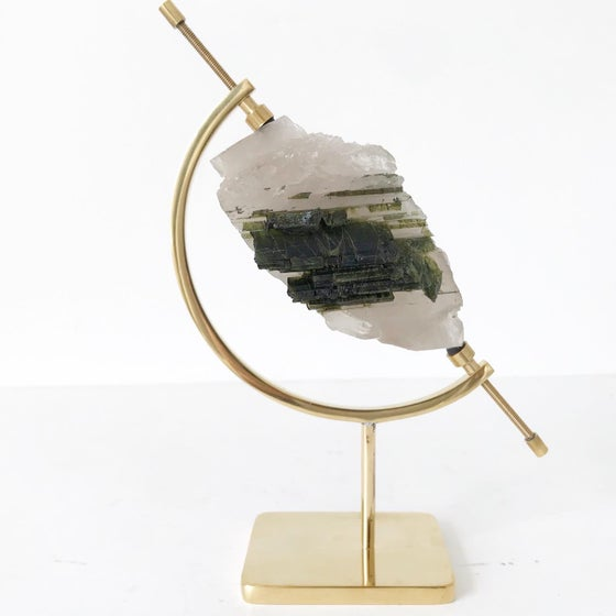 Image of Green Tourmaline no.02 + Brass Arc Stand