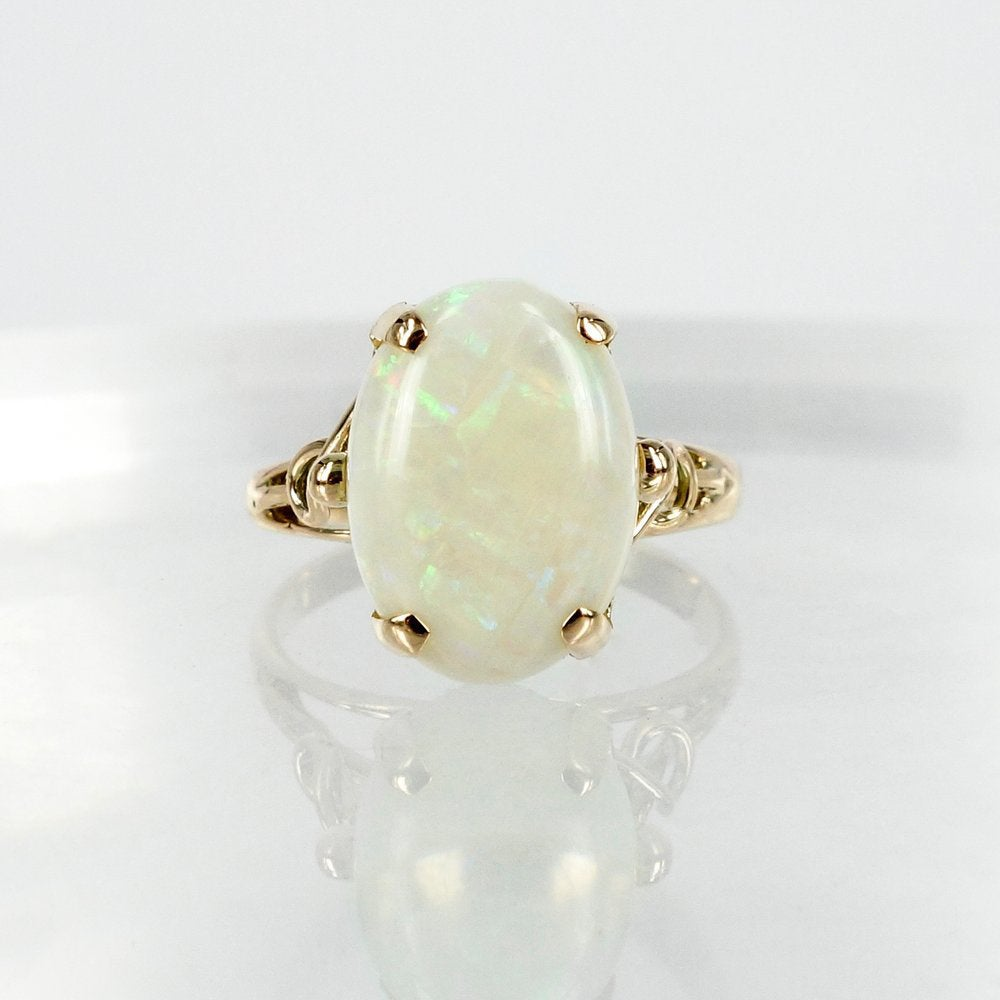 Image of 14ct Yellow Gold Antique Opal Cocktail Ring
