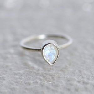 Image of Rainbow Moonstone pear cut silver ring
