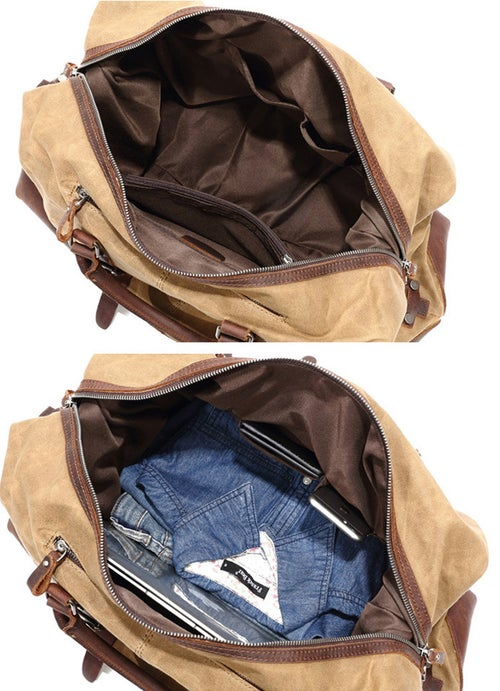 Image of Waterproof Waxed Canvas Leather Travel Bag Duffel Bag W12031