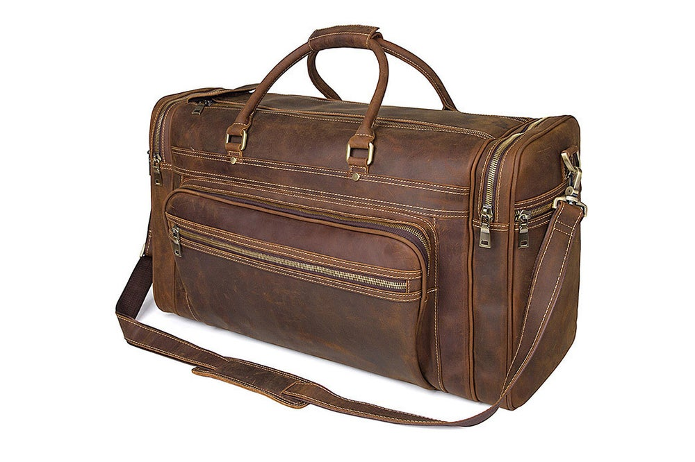 Image of 50L Extra Large Vintage Leather Travel Bag Duffle Luggage Bag  JWD7317