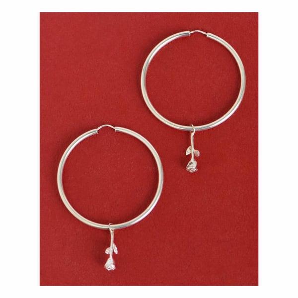 Image of Rose Hoop silver earrings