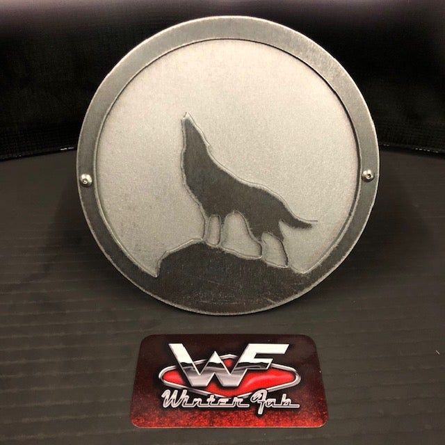 Image of Wolf or Husky Howling Hitch Cover - Two Layer - Style 3