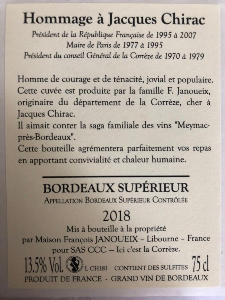 Image of Bouteille Cuvée Hommage Jacques Chirac Bdx Sup