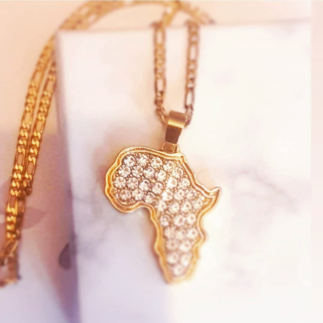 Image of DIAMOND STUDDED AFRICA MAP NECKLACE