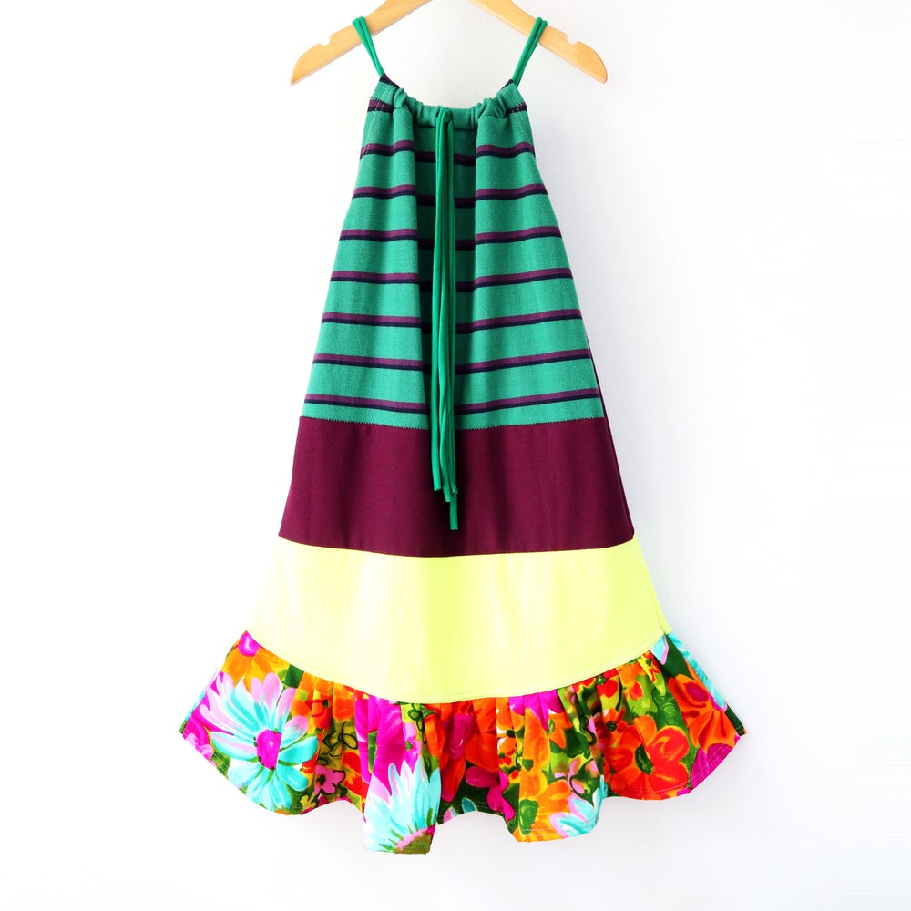 Image of neon vintage fabric stripe flower 8/10 tie drawstring sundress dress floral green stripes plum