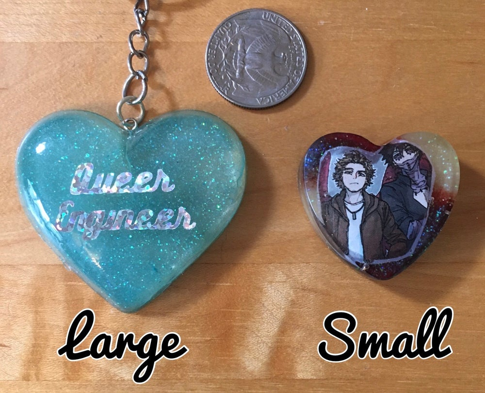 Image of Custom Resin Heart Charms and Keychains