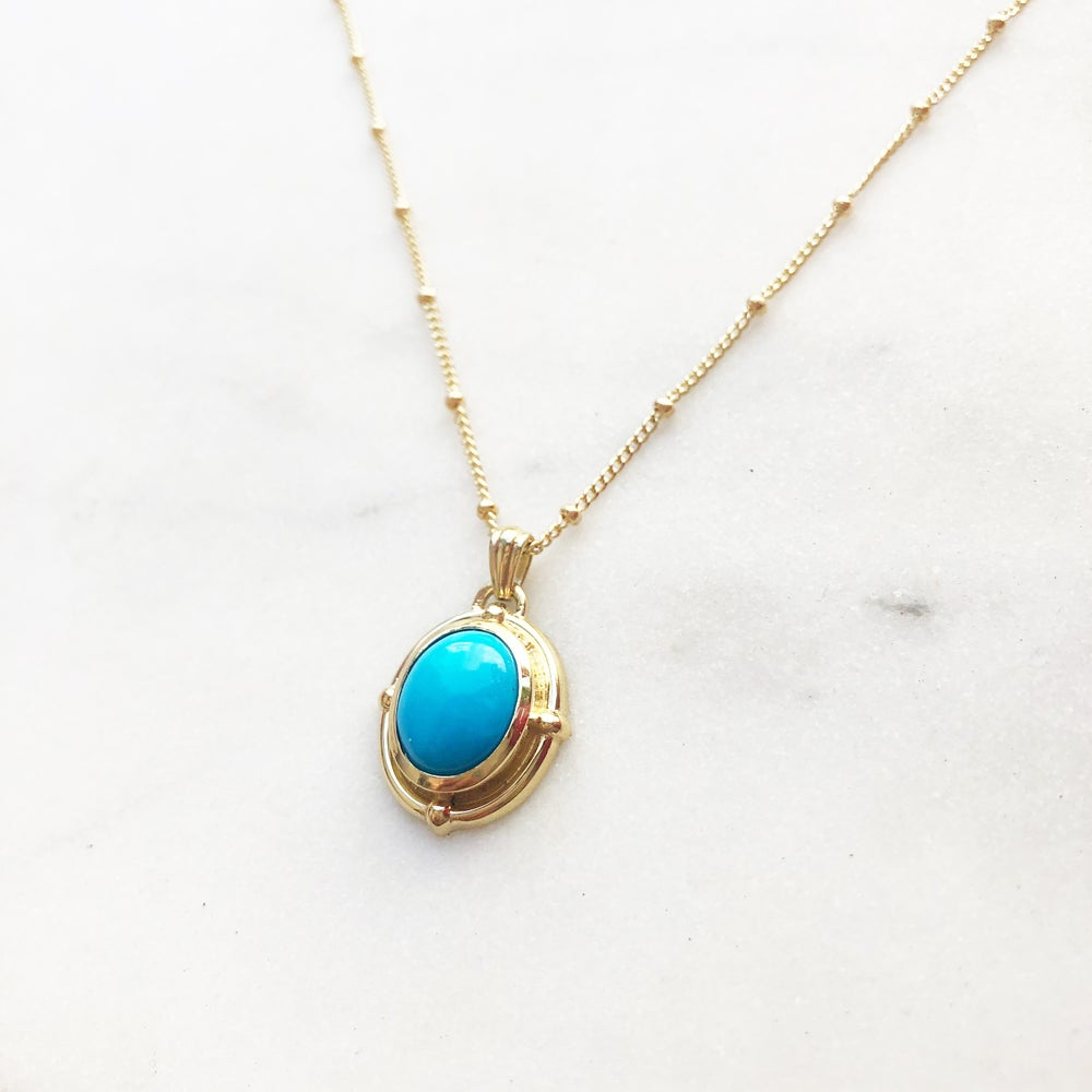 Image of Victorian Oval Turquoise Pendant Necklace
