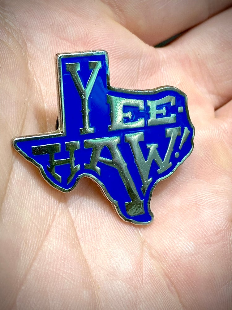 "Image of ""YEE-HAW!"" Texas shaped Enamel pin • Chrome and navy royal blue •"