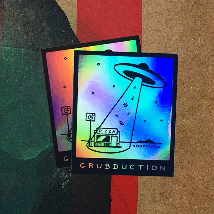 "Image of ""Grubduction"" Hologram Sticker"
