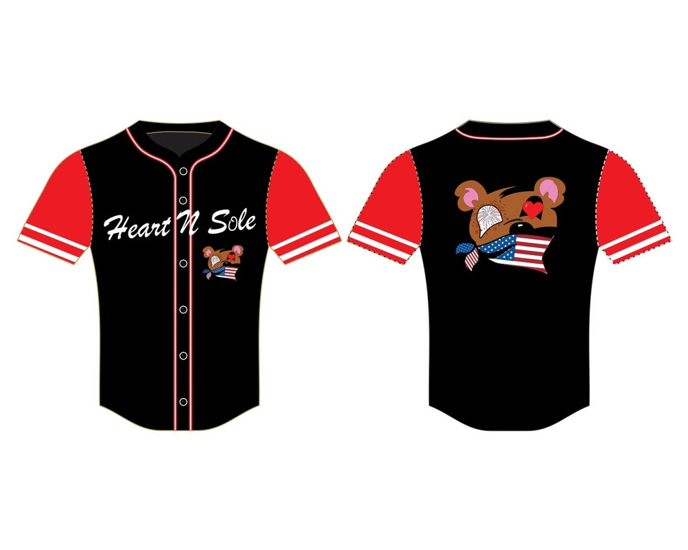 "Heart N Sole ""Independence Day "" Baseball Jersey"