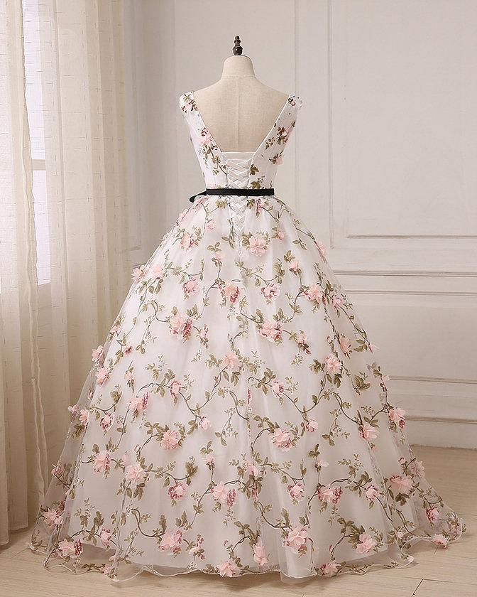 Lovely Flowers White Ball Gown Formal Dress, Prom Dress Evening Gown