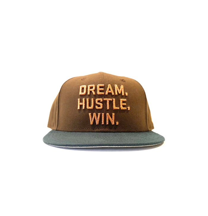 Image of 2520 X NEW ERA DREAM. HUSTLE. WIN. 9FIFTY SNAPBACK - WALNUT/DARK GREEN