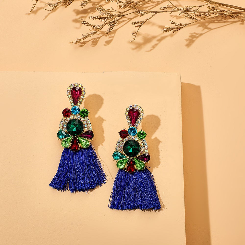 Image of Alloy Tassel Rhinestone Earrings